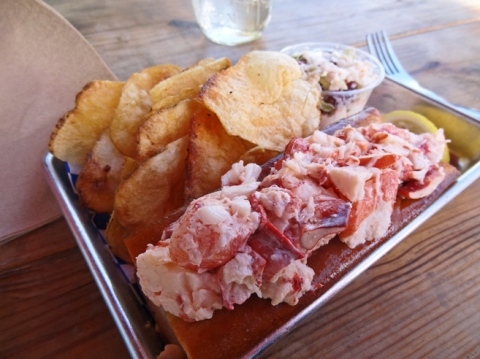 Lightly Dressed Lobster Roll, Thick-Cut Chips, and Slaw
