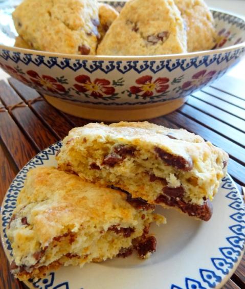 Blood orange scones with milk chocolate chunks
