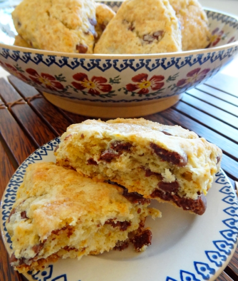 Blood orange scones with milk chocolate chunks