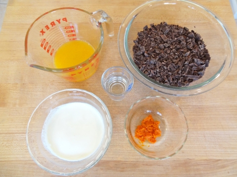 ingredients for brandied dark chocolate orange fondue