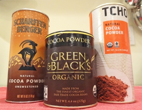 Three cocoa powders: Scharffenberger, Green & Black, and Tcho