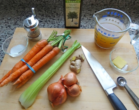 Soup Ingredients, with Homemade Vegetable Broth