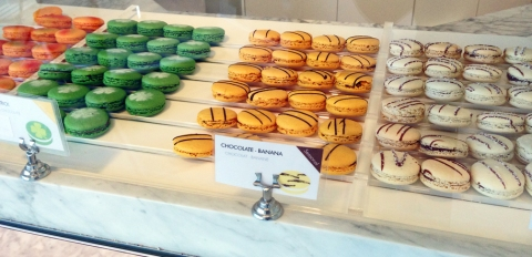 Dispay case of macarons at Chantal Guillon in Palo Alto