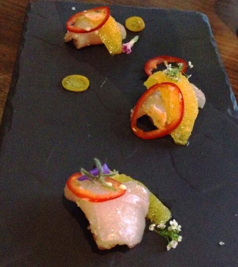 Hamachi crudo appetizer