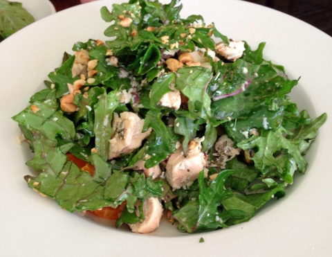 Mixed Greens Salad, Ruby Grapefruit, Pistachio, and Grilled Chicken at Osteria Coppa (San Mateo, CA)