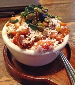 Roasted Butternut Squash, Pumpkin Seeds, Crispy Sage Leaves, Ricotta Salata