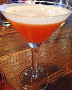 Tramonto cocktail: Tequila Blanco, Aperol, Limoncello, Sambuca Rinse