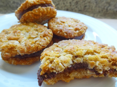 Orange-Scented Anzac Biscuits with Chocolate Truffle Filling