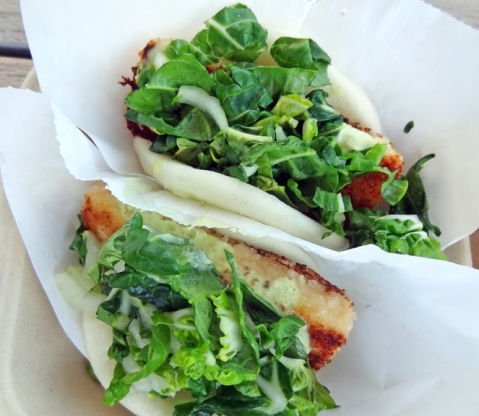 Crispy Miso Cured Tofu with Garlic-Tofu Mayo & Baby Choy Sum on a Steamed Bun from The Chairman Truck