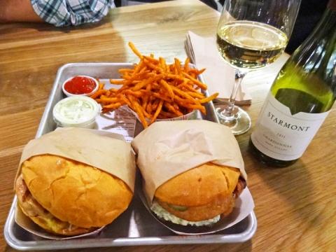 Ahi Burger, Western Bacon Blue Ring Burger, Sweet Potato Fries, Starmont Chardonnay