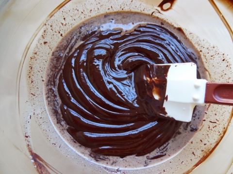 Chocolate ganache in a bowl