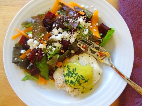 Eat local: West coast halibut with Nut 'n Bean Cashew Jalapeno Cheese. Salad of homegrown lettuces, CSA-box beets and carrots and Marin feta.