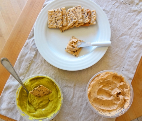 Nut n'Bean: Cashew Jalepeno-Cilantro Dip and Almond Chipotle-Lime spread