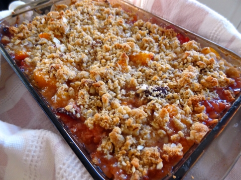 Apricot-Pluot Almond Crisp just out of the oven