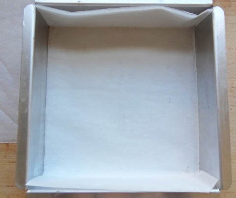 Pan lined with one piece of parchment paper