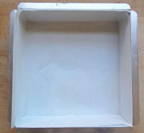 Pan lined with second piece of parchment paper (all sides are covered)
