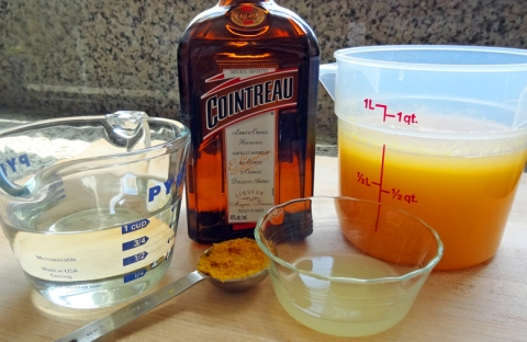 Sorbet syrup, orange zest, Cointreau (optional), lemon juice, orange juice