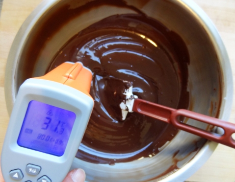 Tempered chocolate at working temperature