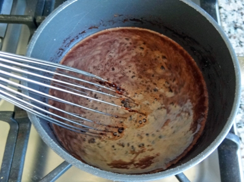 Whisking in the cocoa powder