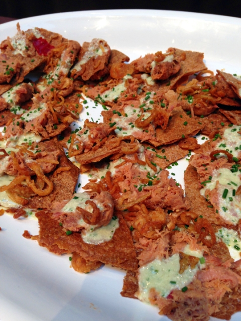 Sweet Onion and Tasso Ham Flatbread with Roasted Shallot Cream and Crispy Spring Onions (Lauren Kiino: Il Cane Rosso, Red Dog, and Fearless)