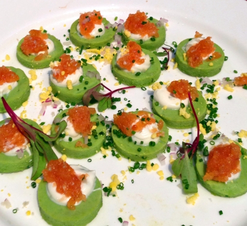 Gaspar's English Pea and Chive Blini with Smoked Salmon