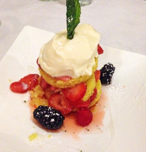 Torta de Fresas layered cornbread, mixed berry compote, horchata ice cream, mint syrup