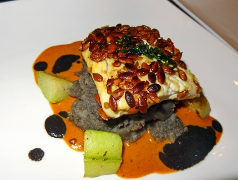 Pescado Con Pepitas (Fall 2013): pan-roasted, pepita-crusted sea bass with corn truffle puree, chayote squash, and two pepper sauces