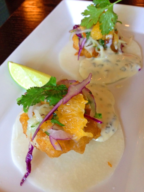 Cayo Dorado crispy scallop, cucumber, plantain, sweet habanero cream on jicama tortilla