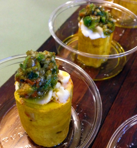 Sausage-Stuffed Ronde de Nice Squash with Goat Cheese and Squash Blossom-Pepita Pesto (Francis Hogan: Bluestem Brasserie)