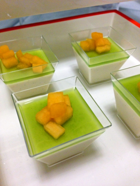 Strauss Family Creamery Yogurt Panna Cotta, with Cucumber, Basil, & Gin Gimlet Gelee, and County Line Tuscan Cantalope (Tout Sweet)