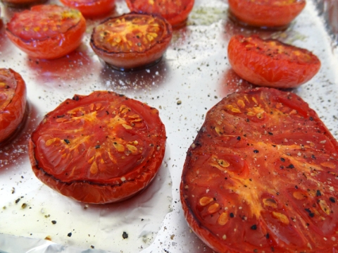 Roasted tomatoes after one-and-a-half hours in the oven