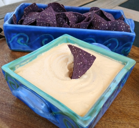 Cashew-Adobo Dip and blue corn chips