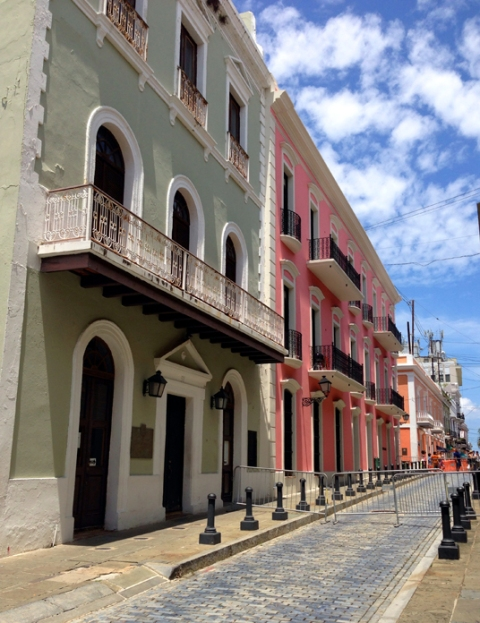 Colorful buildings on the road to the government house, Old San Juan