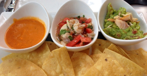 Botanitas: House red sauce, halibut traditional ceviche, and smoked trout guacamole, served with chips