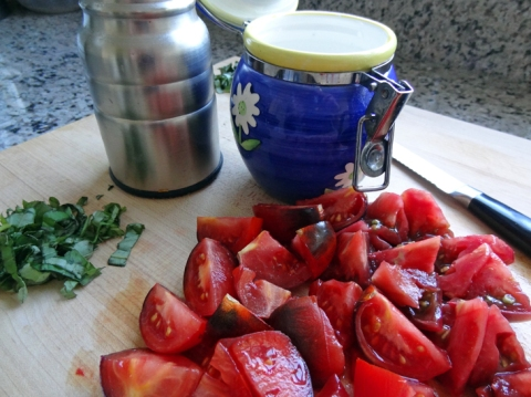 Tomato-Basil Soup ingredients: Olive oil, tomatoes, basil, salt, pepper