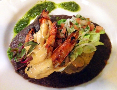Camarones a la Talla: head-on prawns, crispy tortilla, butter lettuce, black bean purée, pico de gallo, chipotle aioli