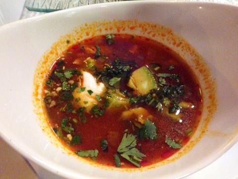 Sopa Azteca: Masa dumplings, chicken, avocado, sour cream, cilantro