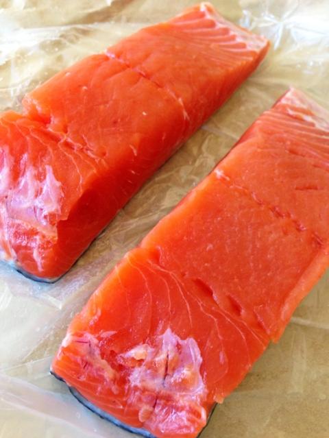 Fresh, wild Alaskan salmon fillets, purchased in the 650