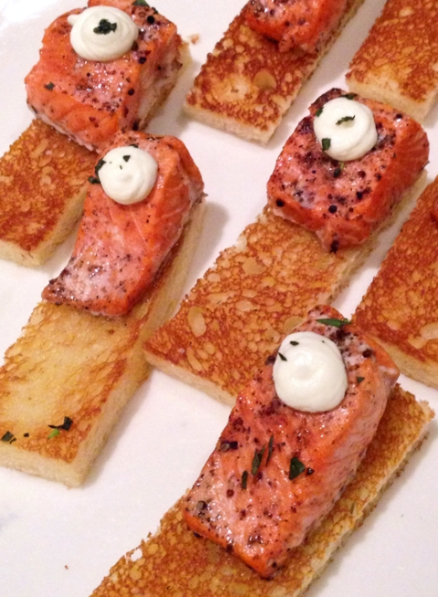 Peppered Bristol Bay Salmon on toasted brioche, prepared by Craig Hetherington of Seattle Art Museum Restaurant, TASTE