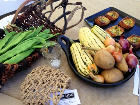 A display of Gospel Flat produce used for the pastries, alongside the finished product made by Parkside Cafe