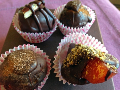 Timothy Adams' handmade truffles (clockwise, from upper left: Pecan, Cinnamon, Quince, Apple)