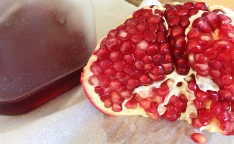 Two ways to enjoy pomegranates: grenadine and fresh seeds