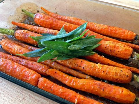 Roasted carrots (fried sage leaves optional)