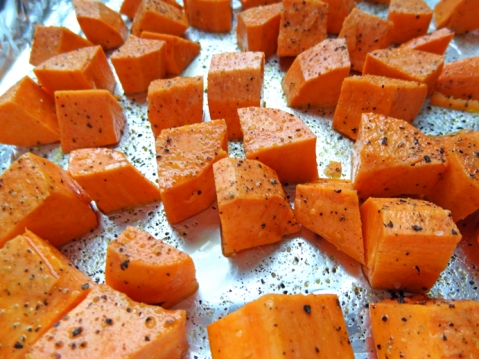 Sweet potatoes ready for roasting