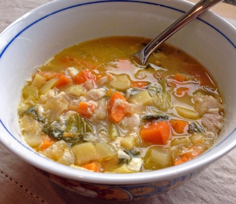 Comforting, nourishing vegetable soup made with homemade vegetable broth