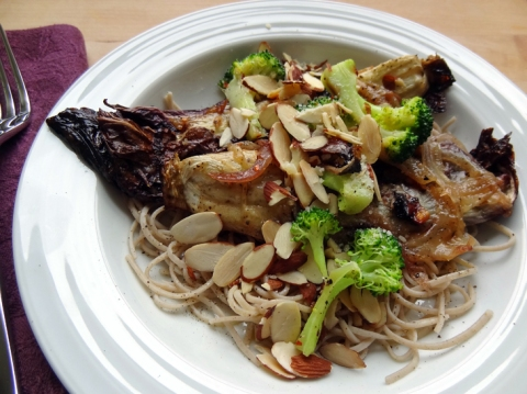 Last night's dinner is today's Waste-Less Wednesday Lunch: Leftover baked radicchio with parmesan, soba noodles, and steamed broccoli