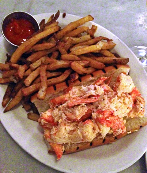 A mound of fries, a mound of lobster meat, a freshly grilled roll... what else do you need?!