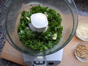 Carrot leaves, olive oil, garlic clove, and salt in the food processor and ready to go!