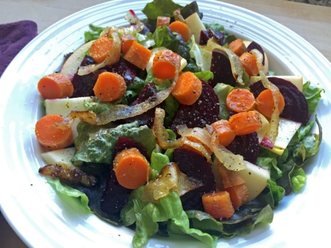 Satisfying winter salad: Top with toasted nuts and cheese to taste