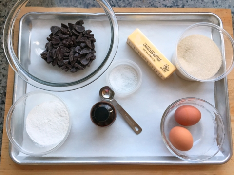 Because the recipe has two parts, I set up the mise en place for each part separately. Shown: the brownie batter mise.